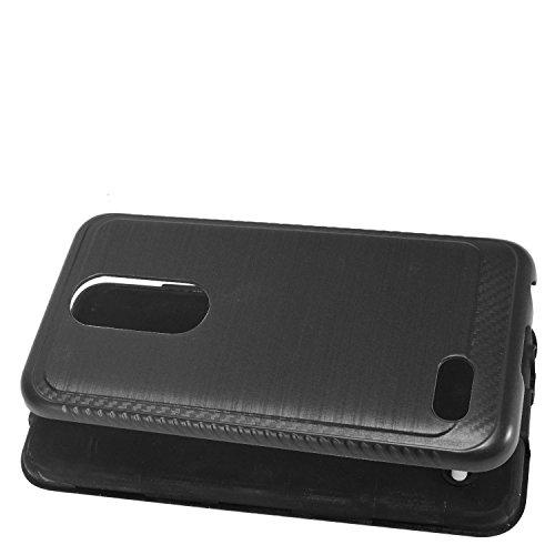 LG K30 LM-X410, Xpression Plus, Phoenix Plus X410AS, Harmony 2, CV3 Prime,  Premier Pro LTE L413DL - Brushed Style Hybrid Phone Case + Tempered Glass