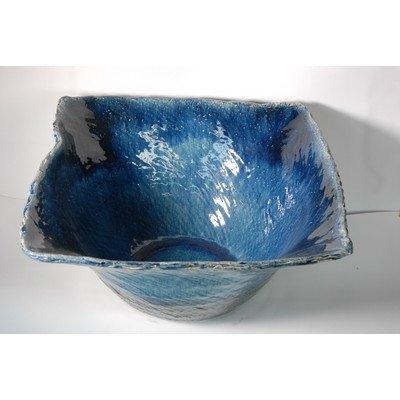 風の水琴工房 ブルーガラス四角水鉢 18号 - 信楽焼 (幅575×奥行575×高さ295) B0778M6VDD