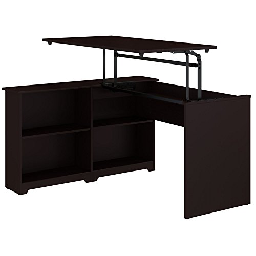 Bush Furniture Cabot 52W 3 Position Sit to Stand Corner Bookshelf Desk in Espresso Oak