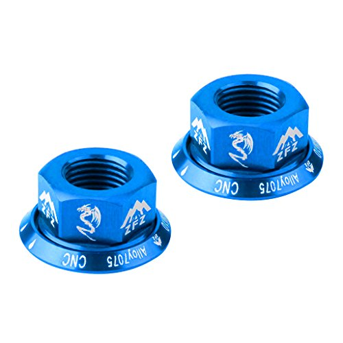 MagiDeal 2Pcs Track Axle Nuts Bicycle Wheel BMX Road Track Fixie Vintage Rear/Front M10 Drums Screws - Blue