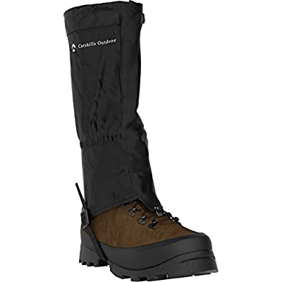 Pair of Quality Hiking and Walking Gaiters from Catskills Outdoor. Ultra-strong 420D Waterproof material for Solid Trekking performance. For Men and Women in Three sizes with Extra pair of boot straps