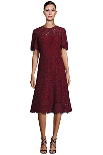 Teri Jon Floral Lace A-Line Short Sleeve Cocktail Dress