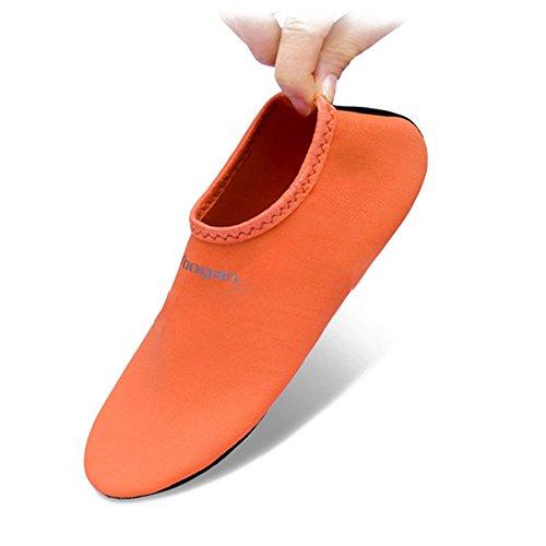 Calze Da Acqua Calzature Pelle A Piedi Nudi Spiaggia Surf Da Immersione Casa Pantofola Piscina Nuoto Calze Yoga Per Uomo Donna Arancione
