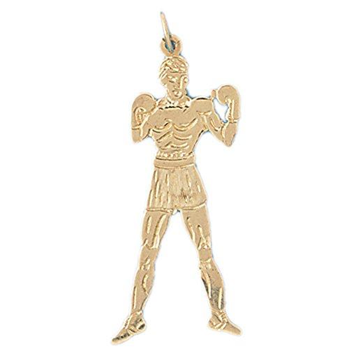14K Yellow Gold Boxer Pendant Necklace - 41 (14k Yellow Gold Boxer)