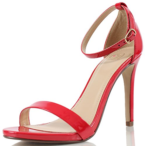 01 Dark Ankle Women Delicious Beige Sandal Open Leatherette Patent red Toe Strap Pump Jaiden Stiletto WUUnOC