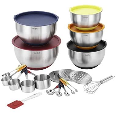 VonShef 17 Piece Premium Mixing Bundle with 5 Stainless Steel Mixing Bowls, Measuring Spoon Set, Measuring Cup Set, Graters, Whisk & Spatula