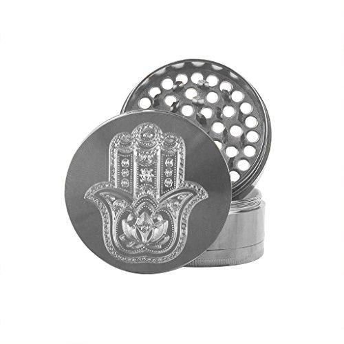 Hakuna Supply Premium Gunmetal Hand Grinder - 4 Pc. Rotary Engraved Hakuna Sharp Shredder (Hamsa) ()