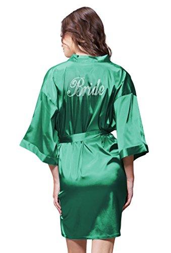 Turquaz Linen Satin Kimono Clear Rhinestone Bride Robe (Small/Medium, Lush Meadow (Meadow Green Satin)