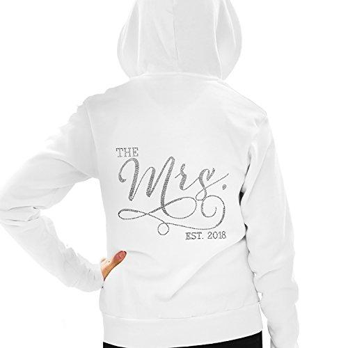 The Mrs. EST 2018 Rhinestone Bridal Hoodie - Wedding & Honeymoon Hoodie - Medium White by RhinestoneSash