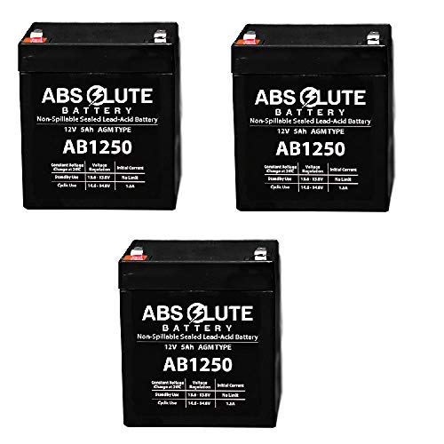 - 3 Pack New AB1250 12V 5AH SLA Replacement Battery for Tandy/Radio Shack 23-289A