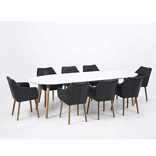 Lounge Zone Esstisch Esszimmertisch Küchentisch Belina Ausziehtisch  Tischplatte Weiß Massivholz Holzgestell 100x170/270cm 12271: Amazon.de:  Küche U0026 Haushalt