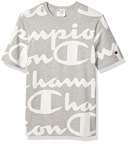 - Champion LIFE Men's All-Over Script Logo Tee, Giant CHP  SCRIPT OXFORD GREY, Medium