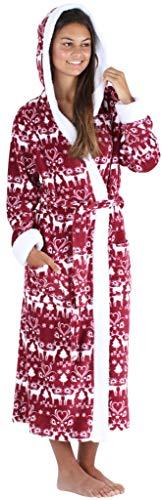 Frankie & Johnny Women's Sleepwear Fleece Sherpa-Lined Hooded Robe, Cranberry Winter (FJ1447-1052-MED) (Robe Christmas)
