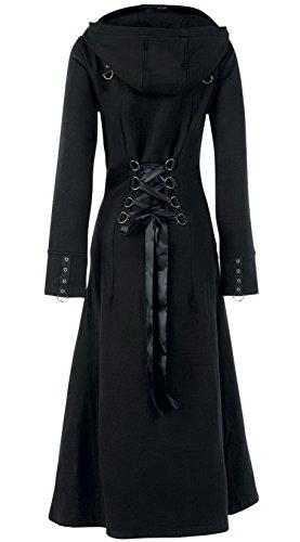 Womens Raven Coat Black Gothic Full Length Long Steampunk (L, Black)