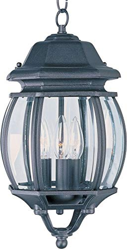 - Maxim 1036BK Crown Hill 3-Light Outdoor Hanging Lantern, Black Finish, Clear Glass, CA Incandescent Incandescent Bulb , 40W Max., Dry Safety Rating, Standard Dimmable, Fabric Shade Material, Rated Lumens