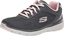 Skechers Flex Appeal 3.0-Moving Fast, Zapatillas para Mujer, Gris (Charcoal Mesh/Duraleather/Pink Trim Ccpk), 37 EU