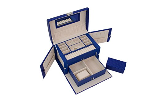 Blue Quilted Leather Jewelry Storage Case – Large Capacity to Hold all Your Jewelry Pieces – Premium Design with Mirror and Bonus Small Travel Case