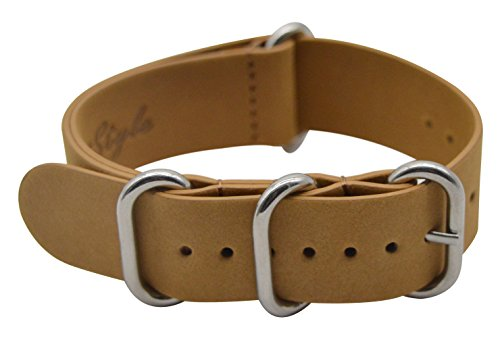 ArtStyle Vintage Crazy Horse Leather Watch Band with Double Sides Leather Watch Strap (22mm, Brown (Beige Leather Strap Watch)