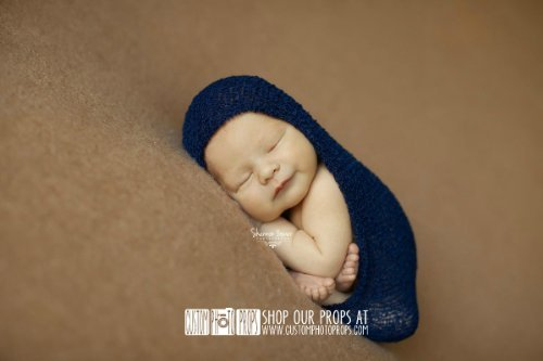 Sapphire Blue Nubble Baby Boy Newborn Stretch Baby Wrap Photo Prop, Newborn Photography Prop, Baby Props Custom Photo Props