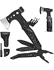 Hammer Multitool, Birthday Gifts for Men Dad Husband, All in One Camping Survival Gear for Outdoor Hunting Hiking, Escape Tool w/ Hatchet Plier Bottle Opener Emergency Whistle (without Pocket Bellow)