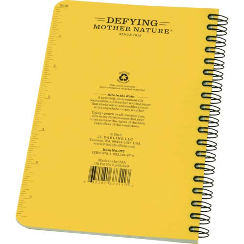 "Rite in the Rain All-Weather Side-Spiral Notebook, 4 5/8"" x 7"", Yellow Cover, Universal Pattern (No. 373)"