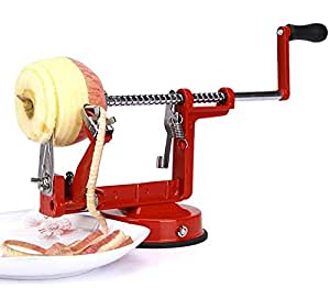 Melife® Quick Triple Feature Heavy Duty Apple Peeler, Slicer & Corer / Peel, Slice and Core Simultaneously / Works for Apples, Potatoes, Pears / High Precision Stainless Steel Blades / Quality Professional Grade Fruit Peeler & Spiral Slicer Tool / Great for Everyday Kitchen Use and for Making Quick Healthy Snacks for Kids & Work / Strong Suction Base,red
