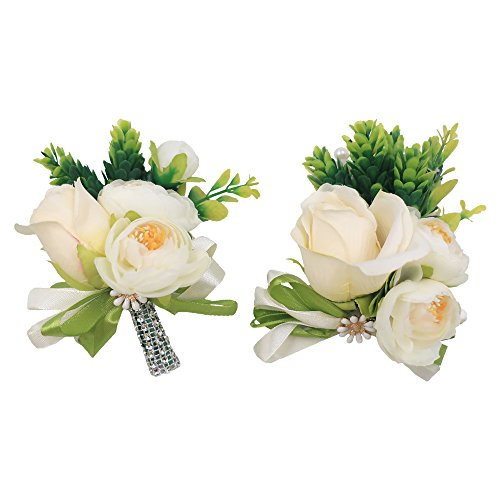 Abbie Home Wrist Corsage and Boutonniere Set for Prom Party Real Touch White Rose Succulents Flowers (WDBD510)