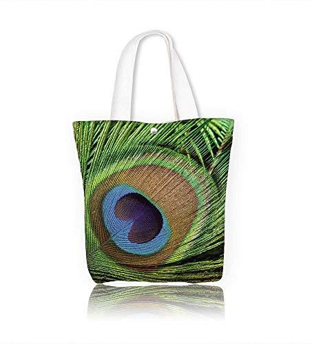Reusable Cotton Canvas Zipper bag Peacock feathers close up Tote Laptop Beach Handbags W14xH15.7xD4.7 ()