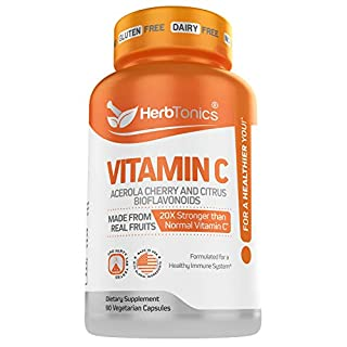 20X Potent Vitamin C with Organic Acerola Cherry and Citrus Bioflavonoids - Whole Food Vegan Vitamin C Supplement Immune Support - Not Synthetic Ascorbic Acid 500 mg 90 Capsules