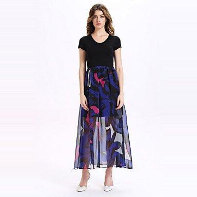 PU&PU Robe Aux femmes Trapèze Vintage / simple,Mosaïque Col en V Midi Polyester , black , l