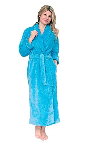 Bath & Robes Women's Shawl Long Chenille Robe Bathrobe 3X Ocean Blue