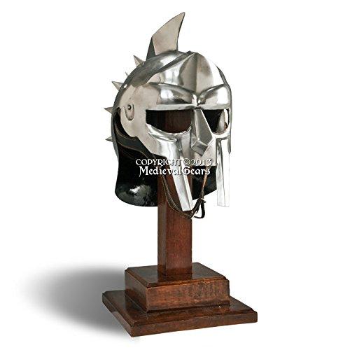 Helm Gladiator (Medieval Gears Brand Wearable Roman Gladiator Spiked Helmet 18G Steel Medievall Renaissance Costume)