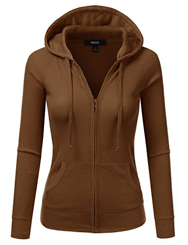 NINEXIS Womens Long Sleeve Casual Lightweight Hooded Thermal Zip-Up Jacket