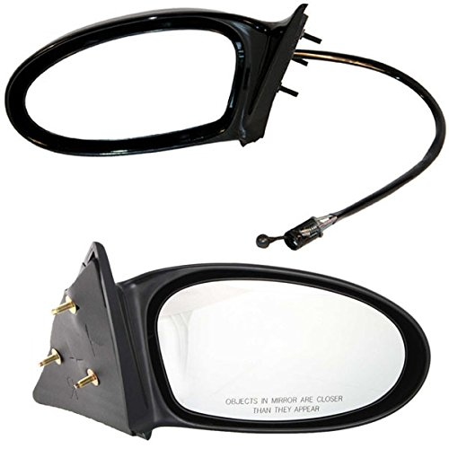 Am Manual Remote Mirror Driver (2002-2004 Olds/Oldsmobile Alero & 2002-2005 Pontiac Grand Am SE (Single Arm) Manual Remote Black Paint To Match Fixed Non-Folding Rear View Mirror Pair Set: Right Passenger AND Left Driver Side (2002 02 2003 03 2004 04 2005 05))