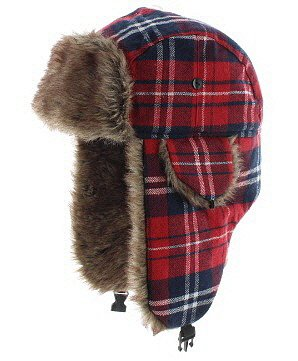 Milani Original Plaid Aviator Trapper Styled Hunting Hat With Fur - Red Hats Heavyweight Hat