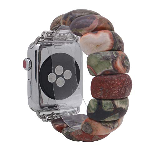 KAI Top Compatible Apple Watch Band Series 3/2/1 38mm 42mm, Unique Handmade Beaded Elastic Stretch Semi-Precious Bracelet Strap Women Girls (Picasso Jasper, 42mm) (Watches Handmade Beaded)