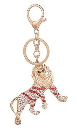 Giftale Red Lion Keychain for Women Cute Bag Charms Crystal Rhinestone Pendant Car Key Ring