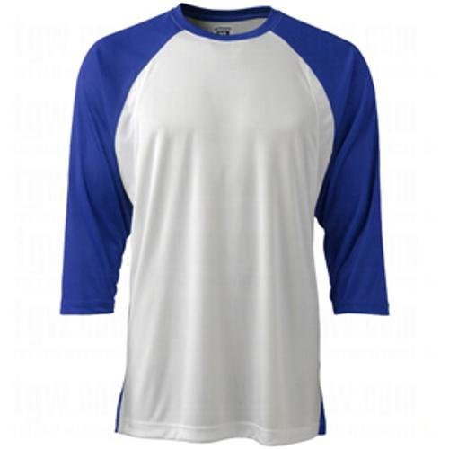 CHAMPRO Complete Game 3/4 Sleeve Baseball Shirt; L; White, Royal Sleeve; Adult Complete Game 3/4 Sleeve Baseball T Shirt