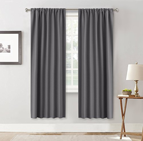 Living Room Blackout Curtains Gray – RYB HOME ( 42″ Width by 72″ Length, Grey, 2 Pieces) Triple Woven Rod Pocket Top Slot Curtain Panels / Window Treatments Privacy Protect Light Block for Kids Room For Sale