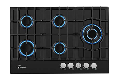 Empava 5 Italy Sabaf Burners Gas Stove Cooktop Black Tempered Glass EMPV-30GC5L70A, 30 Inch (30 Inches Gas Cooktop)