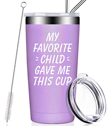 My Favorite Child Gave Me This Cup, Best Mom Birthday Gifts from Daughter, Son, Kids - Mother's Day, Father's Day, Christmas Gifts Idea for Dad, Mama, Grandma, Papa, Nana, Women, Men, Wine Tumbler (Grandma For Ideas Gifts Christmas)