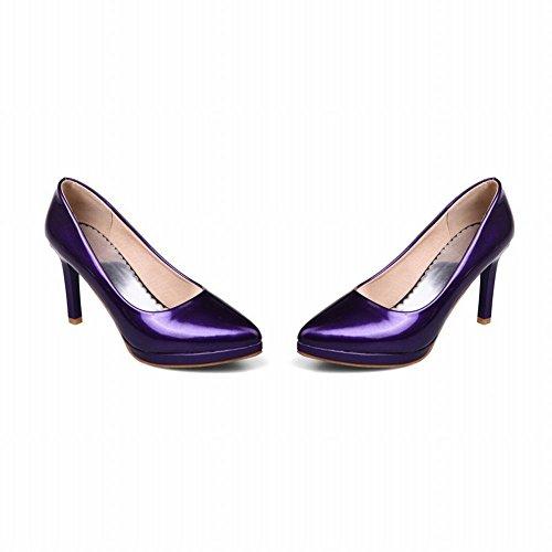 Zapato De Mujer De Estilo Sipmle Con Punta Estrecha Y Punta Estrecha Zapato De Tacón Alto Púrpura