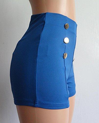Con Bottoni Skinny Vita Pantaloncini Donne A Blu Shorts Alta Moda Colore wH0W4qF
