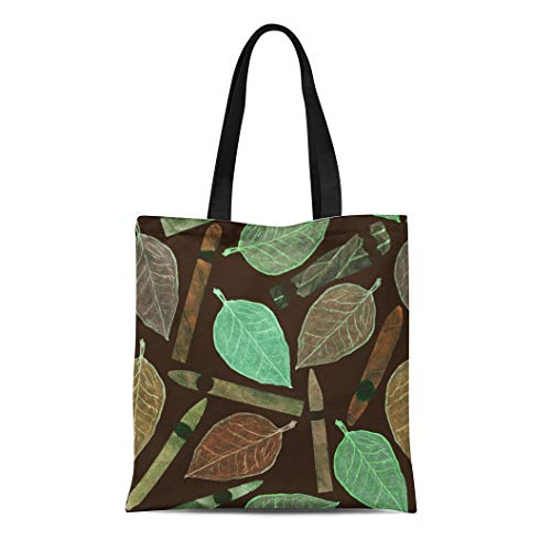 Semtomn Canvas Bag Resuable Tote Grocery Adorable Shopping Portablebags Cigars of Different Shapes and Colors Tobacco Leaf Hand Watercolor Natural 14 x 16 Inches Canvas Cloth Tote Bag