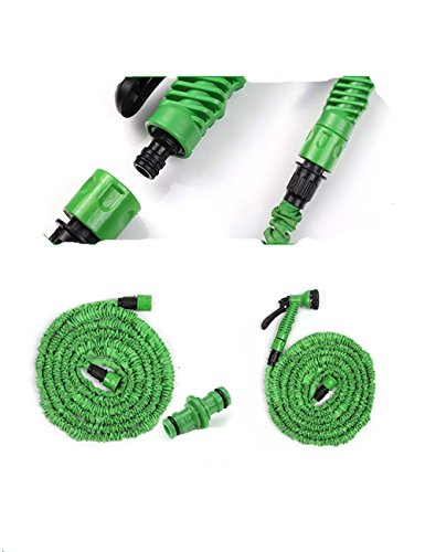 25ft Expanding Garden Hose Multifunctional Water Hose Nozzle with Expandable 3 Times Garden Water Hose for Car Washing , Gardening , Pet Cleaning Etc. , Blue,green (Green)