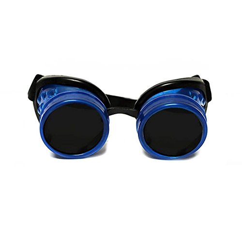 GloFX Glow In The Dark Blue Padded Steampunk Goggles Tinted Rave Eyes Gothic Welder Cyber Punk - Sunglasses Welder Goggles