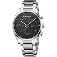 Calvin Klein 42mm Steadfast Swiss Made Quartz Chronograph Date Stainless Steel Bracelet Men's Watch (Black )