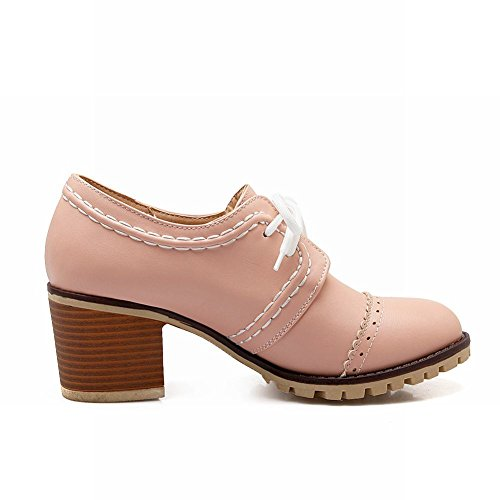Show Glans Womens Mode Söta Tjocka Häl Oxfords Skor Rosa