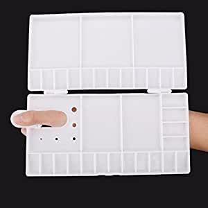 UBOOMS 1 Pcs Folding Paint Trays Box Watercolor Oil Plastic Palettes with 33 Compartments Thumbhole and Brush Holders
