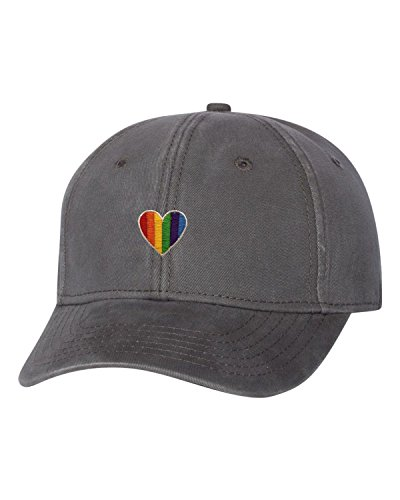 Adult Rainbow Heart Embroidered Dad Hat Structured Cap (Rainbow Embroidered Hat)